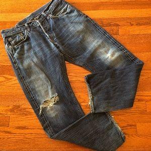 Edwin Japan Denim Destroyed Need Repair Jeans 34